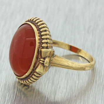 1920s Antique Art Deco Estate 10k Solid Yellow Gold Carnelian Agate Dinner Ring