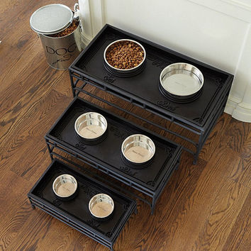 Rubber Pet Food Tray W/Bowls | Ballard Designs