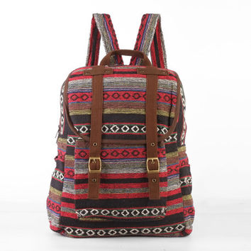 Hippie Backpack Diaper Bag, Student/ Travel/ College/ Teen/ Boho Gypsy  (Brown trim)