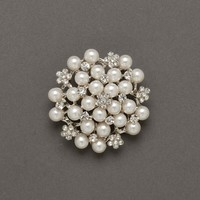 Crystal Flower and Pearl Pin - David's Bridal