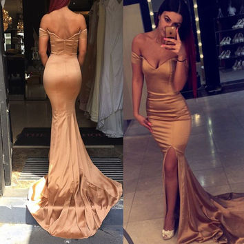 Off Shoulder Floor Length Mermaid Prom Dresses Evening Dresses