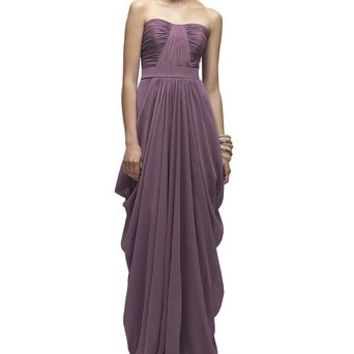Sherrydress Women's Strapless Draped Full length Chiffon Bridesmaid Gown Party Dress