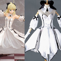 Saber Lily HIGH END Dress Cosplay Costume White Armor