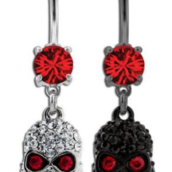 red Gem Dream catcher Belly Ring Silver black skull piercing Accessary 316L medical stainless steel Hypoallergenic navel ring nail