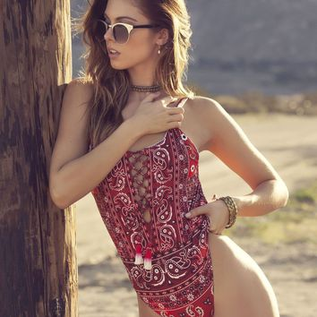 Agua Bendita Gooseberries Red Bandana Swimsuit