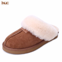 INOE sheepskin leather fur lined women home shoes winter suede slippers for men indoor shoes half slippers 34-46 free shipping