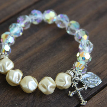 Swarovski Crystal Bracelet, Dimpled Pearl, Rosary, Cross, Virgin Mary, religious, spiritual, sterling silver