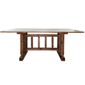 Montana Woodworks Homestead Trestle Based Dining Table Stained and Lacquered