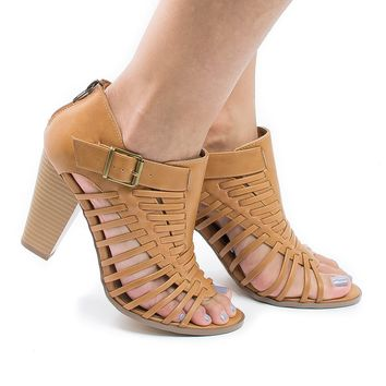 Lecture Natural Pu By Delicious, Open Toe Huarache Woven Stacked Block Heeled Sandal