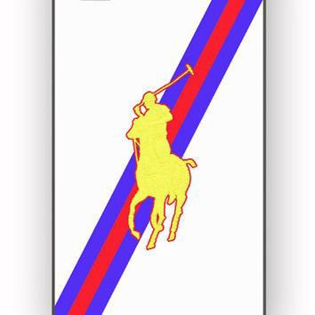 Polo Ralph Lauren Red Blue Stripe Logo for iPhone 4/4S Case **