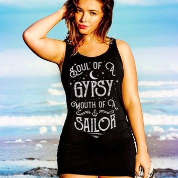 Gypsy Tank Top, Gypsy Shirt, Boho Tank Top, Summer Outdoors,Tunic, Summer Dress,Tank Top Dress, Soul of a Gypsy Mouth of a Sailor Shirt, tank