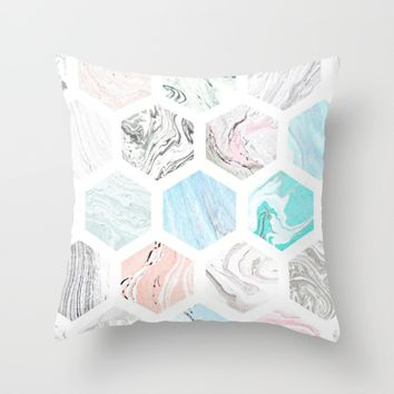 marble love; Throw Pillow by Pink Berry Patterns