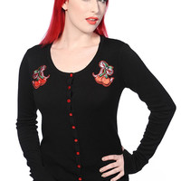 Banned Rockabilly Pinup Cherry Love Black knit Cardigan