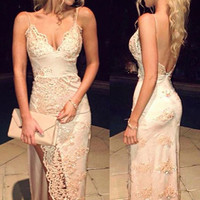 V-Neck Backless Side Slit Prom Dresses
