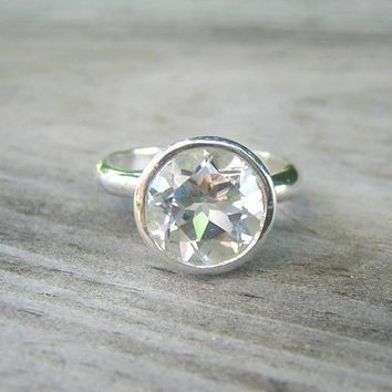 ROCK FETISH White Topaz Ring in Sterling Made to by onegarnetgirl