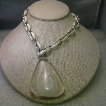 "Vintage Crown Trifari 1960's Necklace, Silver Tone & White Plastic Necklace, with Clear and White Swirled Pendant, 26"" Chain"