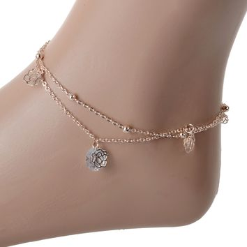 Cute New Arrival Shiny Jewelry Gift Sexy Stylish Ladies Crystal Hollow Out Double-layered Anklet [10965047495]