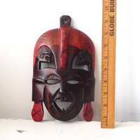 African Wood Mask Dark Brown Red Accent Hand Carved Ethnic Decor Tribal Art Large Face Mask Souvenier Wall Art Vintage