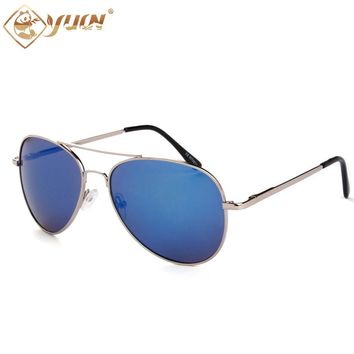 Classic Brand Pilot Sunglasses Flash Glass Lenses high quality man and woman sun glasses with spring hinges 2018