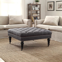 Linon Isabelle Charcoal Square Tufted Ottoman