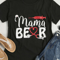 Mama Bear O-Neck Short Sleeve O-Neck T-Shirt - Bellelily