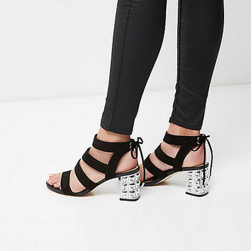 Black embellished block heel sandals - sandals - shoes / boots - women