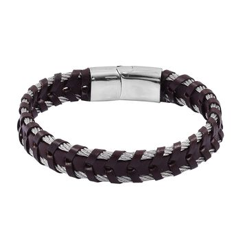 Genuine  Leather Stainless Steel Brown Woven Bracelet (8.00 In)