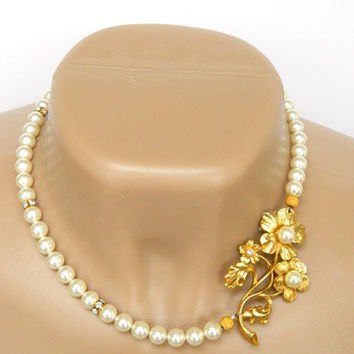 White Glass Pearl Recycled Jewelry Necklace Handcrafted Vintage Gold Pin Short