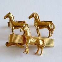 Horse CuffLinks and Tie Bar Set, Equestrian Cuff Links Tie Bar
