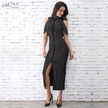 ADYCE Celebrity Evening Party Dress Woman Black White Sleeveless Beaded Dress Turtleneck Sexy Back Splitting Dress Vestidos