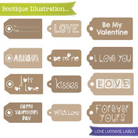 Love Luggage Label Clipart. Kraft Labels Clipart. Valentines Clipart. Kraft Love Tags Clipart. Vector Graphics. Jpegs, Pngs, Pdf, Eps inc.