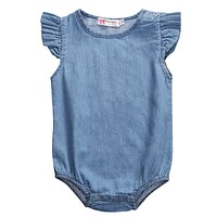 Baby Girls Bodysuit Sunsuit Outfits Clothes Newborn Baby Girl Clothing Tops Denim Short Sleeve Jumpsuit