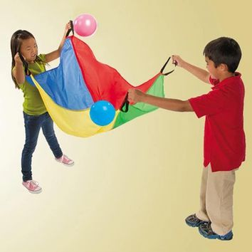 Children Outdoor Play Toy Rainbow Color Teamwork Throwing And Catching Umbrella Game Toys Sensory integration training