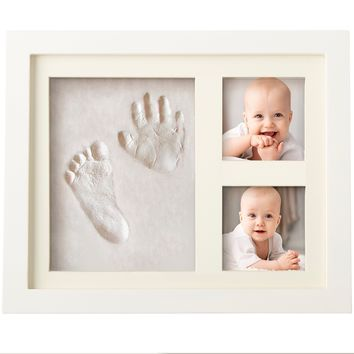 Baby Handprint Kit by Laura Baby! SPECIAL NO MOLD VERSION! Baby Picture Frame (WHITE) & Non Toxic CLAY! Baby Footprint kit, best baby shower gifts! Newborn Baby Boy gifts, and Baby Girls Gifts!