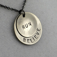 Running Jewelry - BELIEVE in YOUR RUN Necklace - Runner Necklace on 18 inch gunmetal chain - Runners Necklace