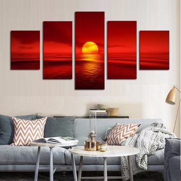 5 Panel Sunset Red Sun Sea Ocean Natural Landscape Wall Art Print Framed UNframe