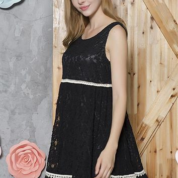 Lace Tunic Dress - Black