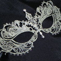 Ivory and Silver Metallic Filigree Masquerade Mask