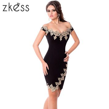 ZKESS Black Bodycon Summer Dress Slim Sexy 2017 Elegant Slash Neck Sheath Short Sleeve Lace Sheer Vintage Party Dresses LC61188