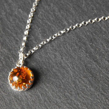 Tiny Round Amber Sterling Silver Necklace - Baltic Amber Necklace - Amber With Sterling Silver Necklace - Sterling Silver Necklace