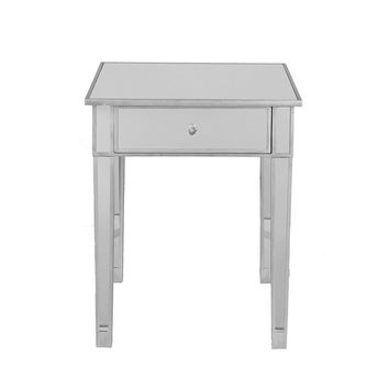 Mirrored Accent Table With Single Drawer, Silver & Clear By The Urban Port