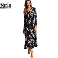 SheIn New Arrival 2016 Women Maxi Dresses Navy Round Neck Long Sleeve Womens Fashion With Button Floral Long Party Dress