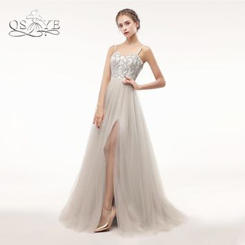 QSYYE 2018 New Arrival Long Prom Dresses Robe de Soiree Spaghetti Sweetherat Crystal Beaded Tulle High Slit Evening Party Dress
