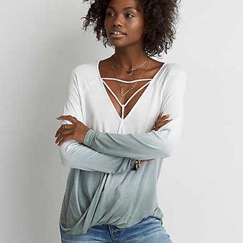 AEO Soft & Sexy Cross-Front T-Shirt , White