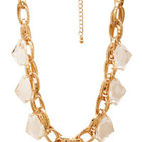 FOREVER 21 Dazzling Chain-Link Necklace Clear/Gold One