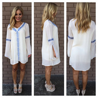 Cream & Blue Bikini Crochet Cover Up Dress