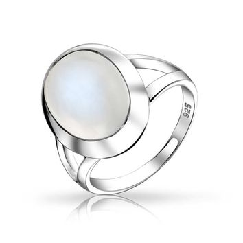 Oval Cabochon Bezel Gemstone Mood Moonstone Ring 925 Sterling Silver