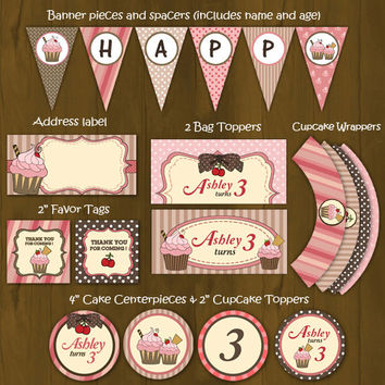 Pink and Brown Cupcake Printable Birthday Party Package - Cupcakes Pink Brown Complete Birthday Set - favor tags, banner, toppersetc