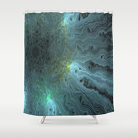 Glow turquoise Shower Curtain by LoRo  Art & Pictures