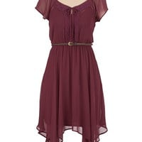 Belted chiffon peasant dress
